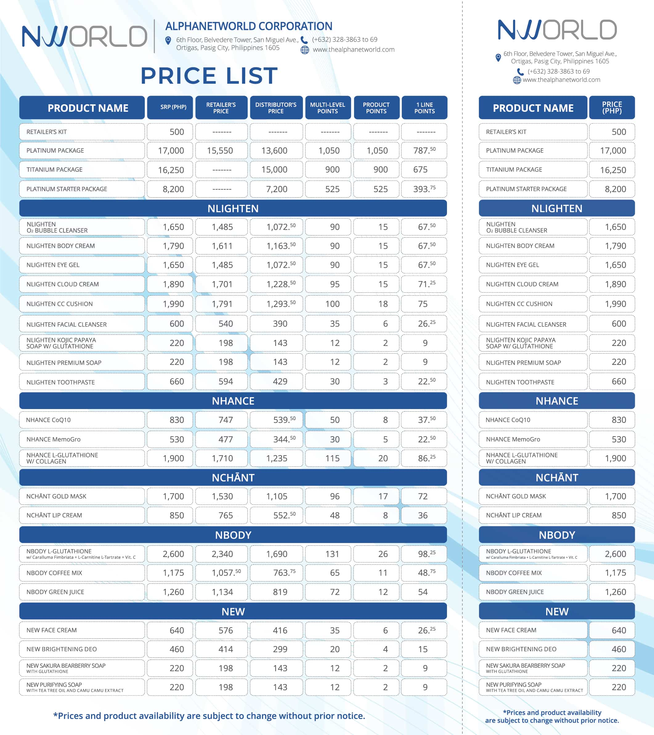 NWORLD PRICE LIST