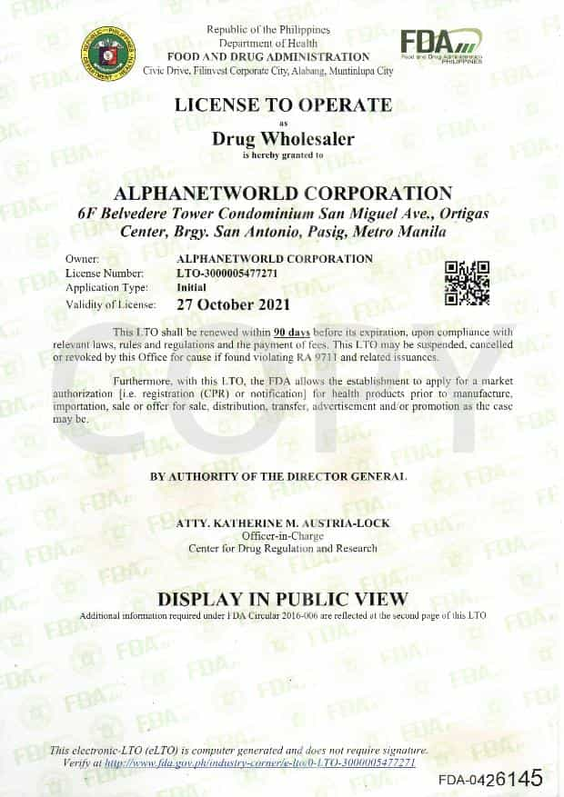 LICENSE TO OPERATE AS DRUG WHOLESALER
