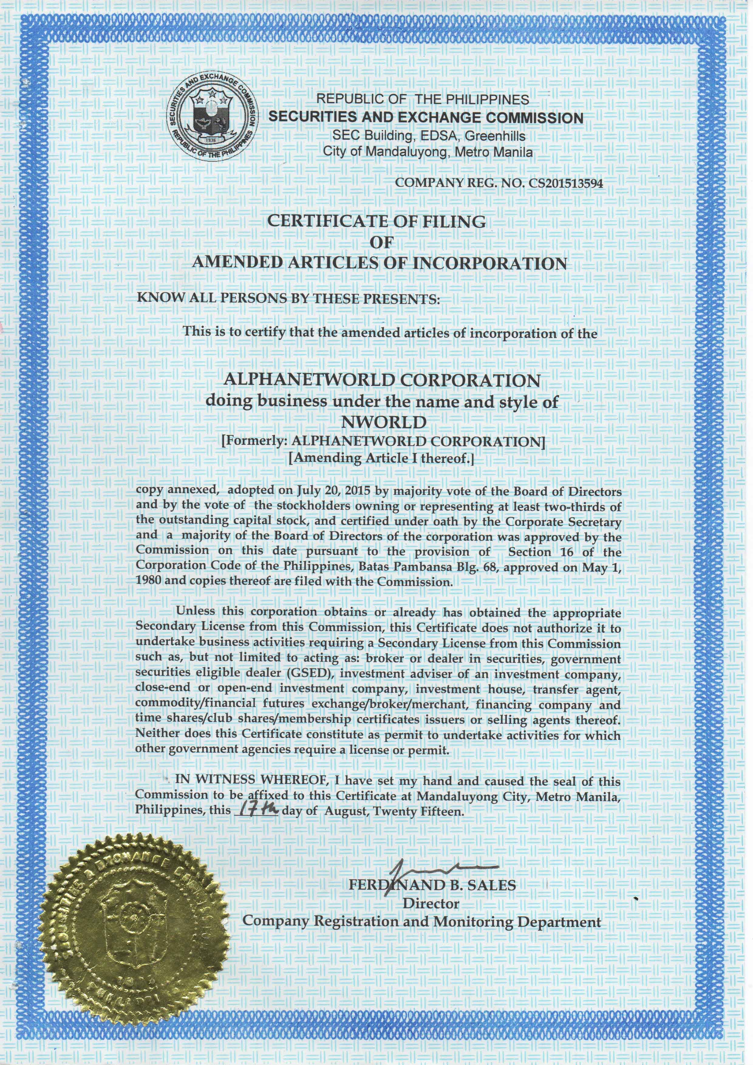 NWORLD CERTIFICATE OF INCORPORATION